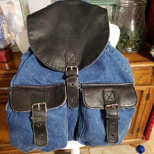 Romano Denim and Leather Back Pack ~ Knap Sack